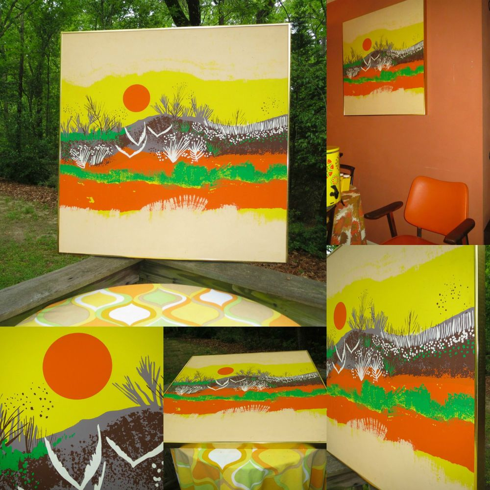 VTG 1960s MID Century Modern Orange Sun Birds Abstract Retro ...