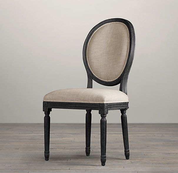 Vintage French Round Upholstered Side Chair | Fabric Arm & Side ...