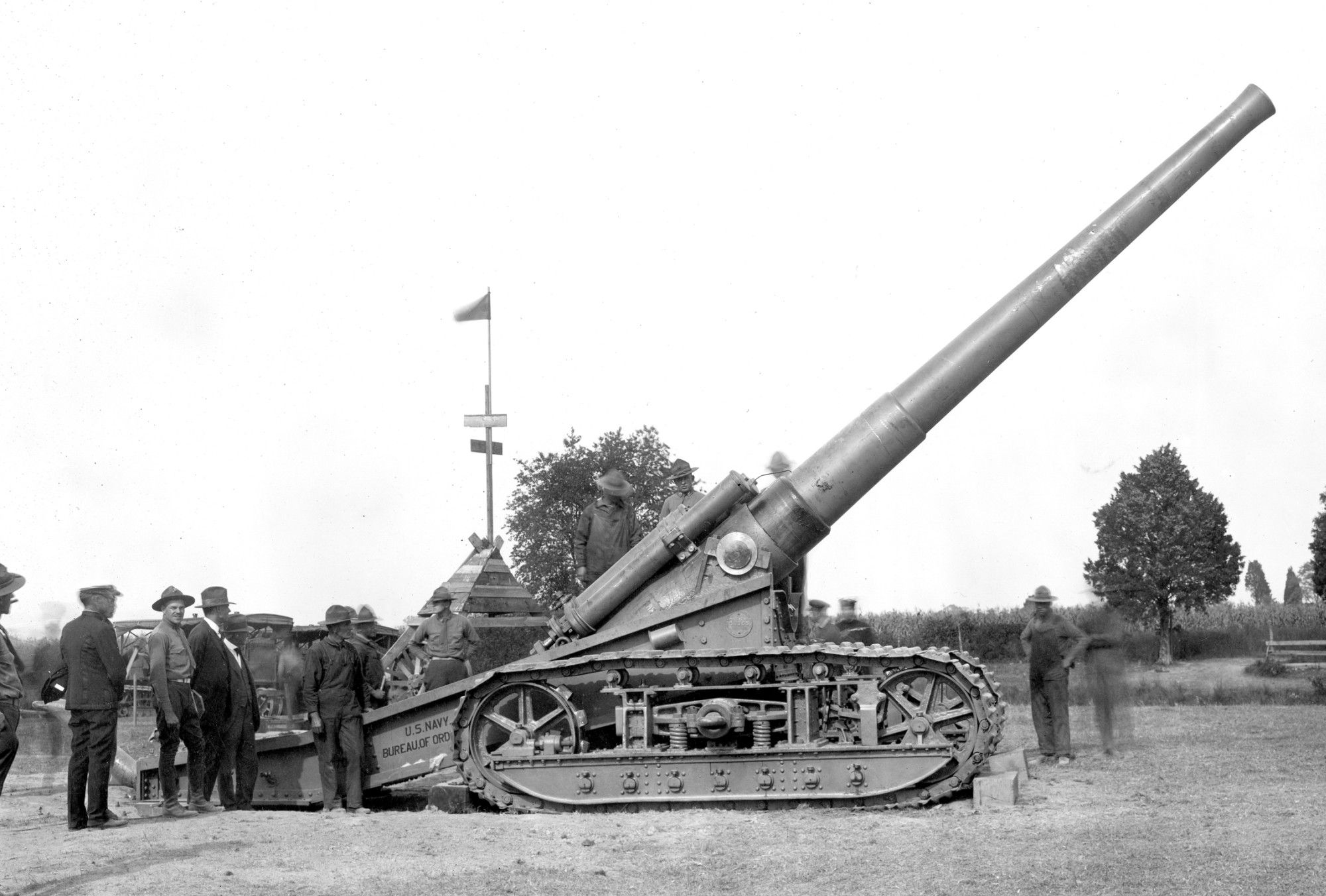 A 1918 file photo shows the first gun fired at Naval Weapons ...