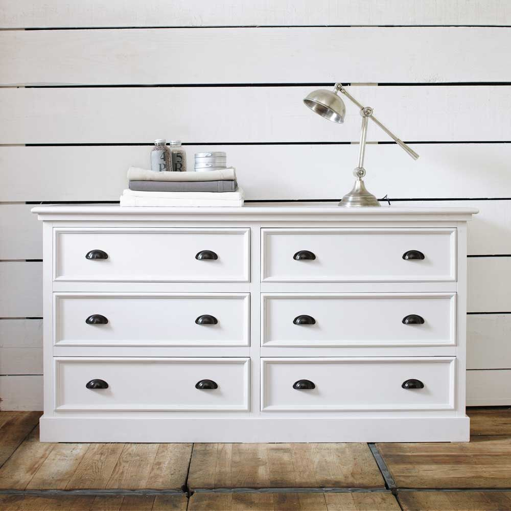 Commode en bois blanche l 160 cm newport maisons du for Maison du monde commode