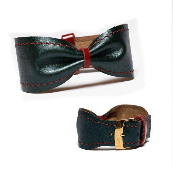 Christmas add leather bow bracelet cuff #leather #gift #christmas #bangle #cuff #bow #bracelet