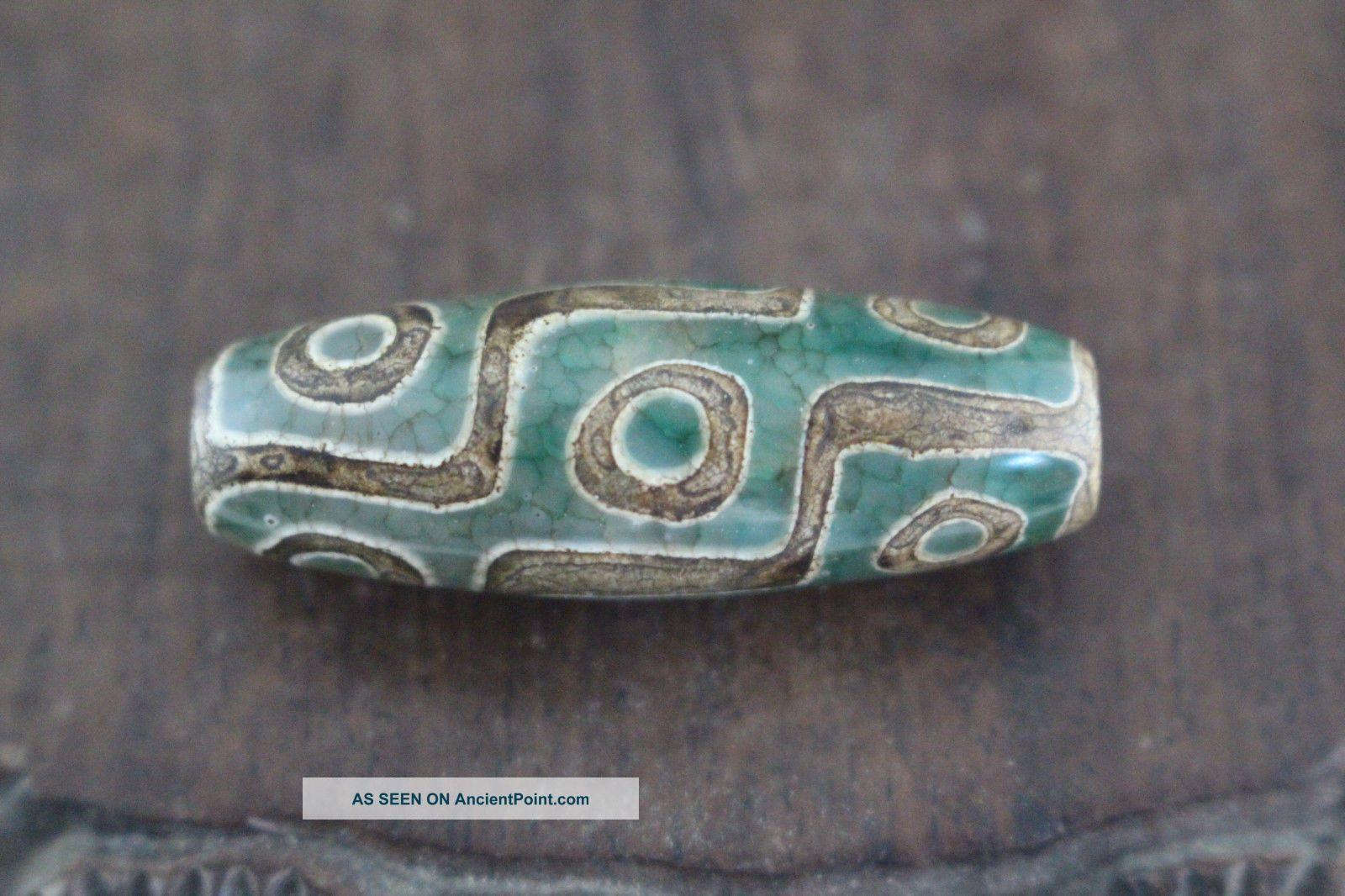 tibetan prayer worry dzi bead old agate 9 eyes amulet gzi antique tibet