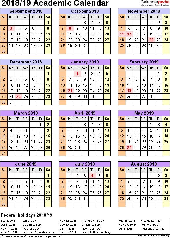 template 7  academic calendar 2018  19 for word  portrait