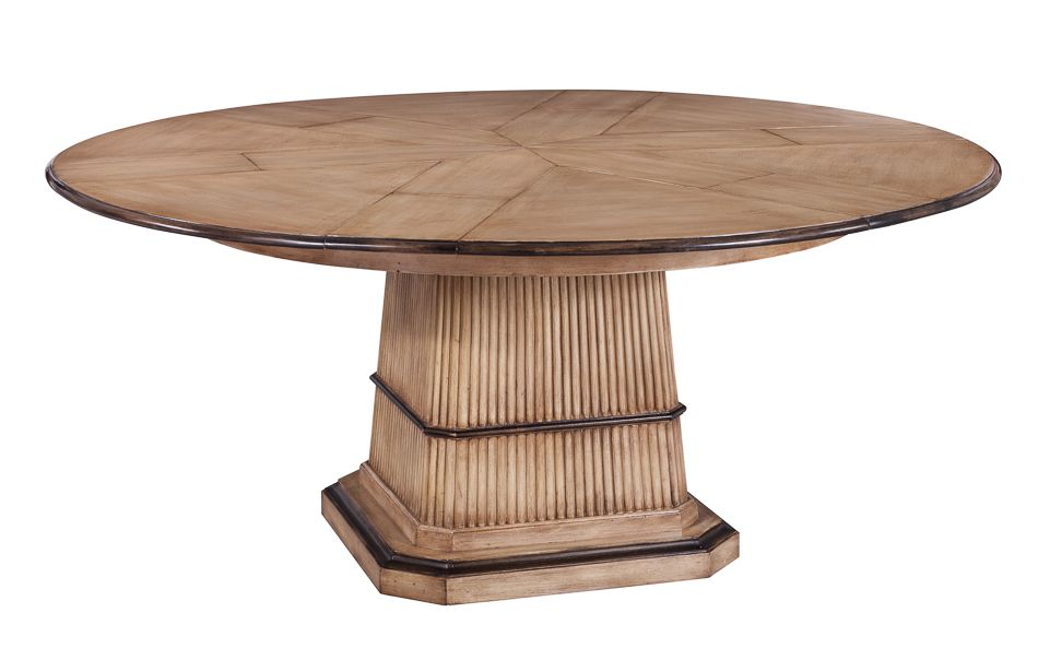 Round Dining Table Solid Walnut Beige Black Accents Handmade