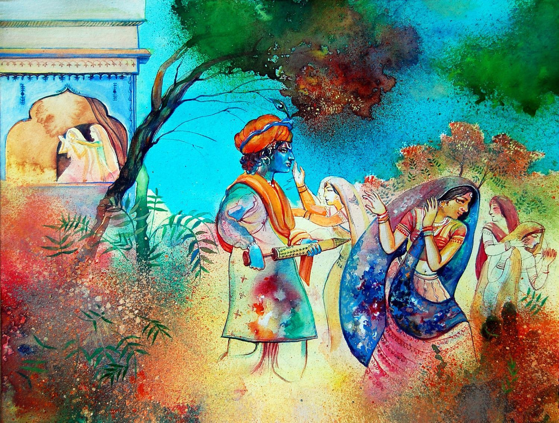 Indian Art Painting Krishna Playing Holi with Radha Rani