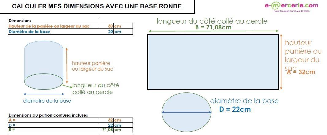 Outil De Calcul De Dimensions Avec Une Base Ronde Calculateur