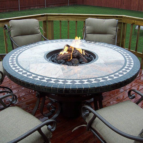 Fine Mosaic Round Gas Fire Pit Table 60 In 2019 Round Fire Dailytribune Chair Design For Home Dailytribuneorg