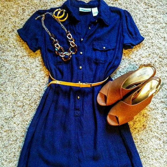 Dark blue shirt dress Short sleeved 100% Rayon shirt dress. Soft and flowy, hits right above my knee. ??Belt, earrings and necklace are also for sale!?? Allison Brittney Dresses