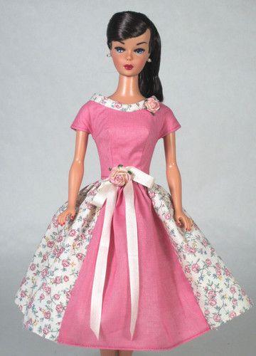 Delicate Rose Vintage Barbie Doll Dress Reproduction Barbie Clothes Fashion Doll Dress Barbie Clothes Vintage Barbie Dress