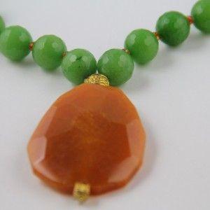 1605a48a070b Collar Málaga verde - naranja Gargantilla collar de piedras naturales  facetadas en morado y ágata central