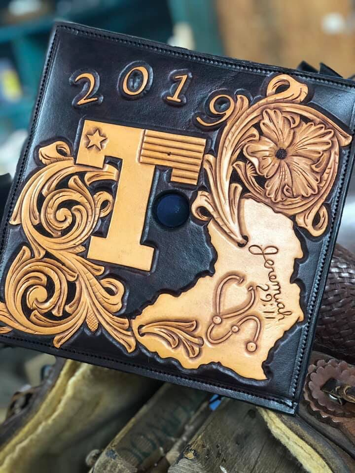 One of a kind graduation cap top hand tooled by christian