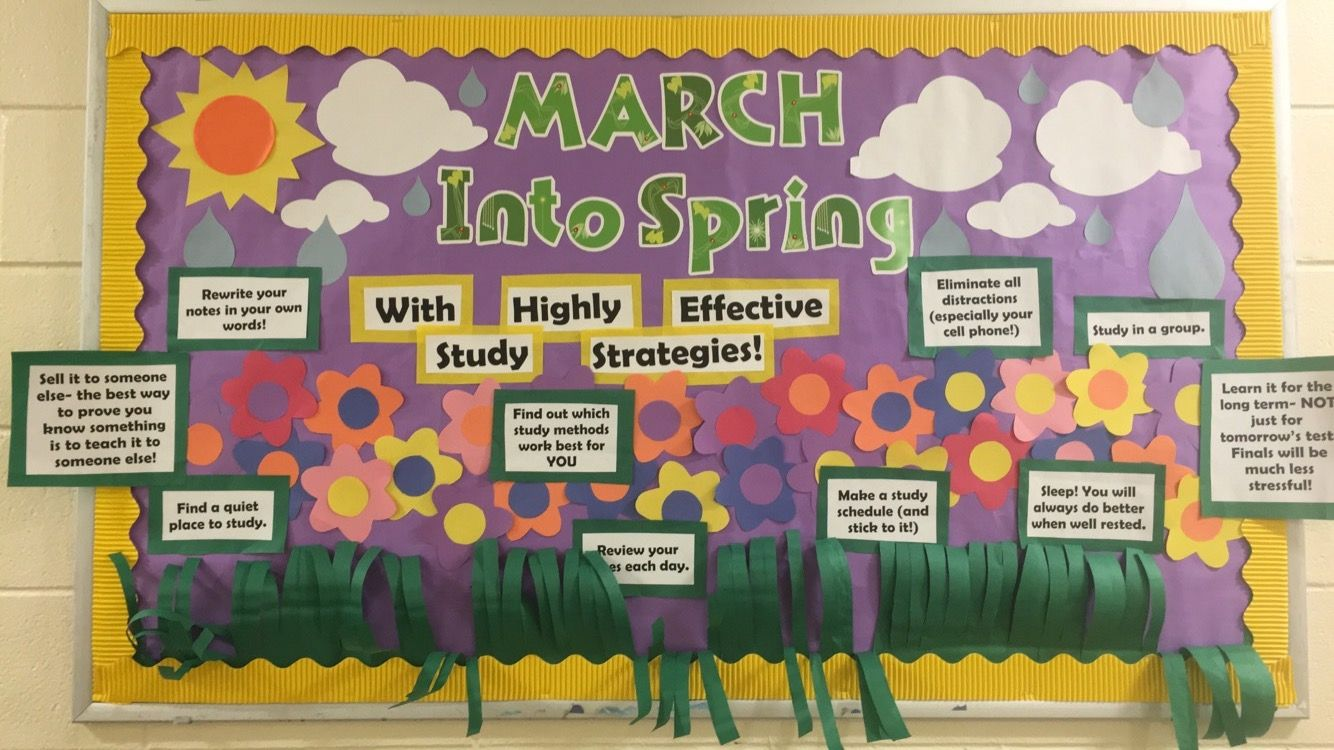 March Into Spring Themed Bulletin Board With Effective Study Strategies For Upcoming Mi Res Life Boards Ra
