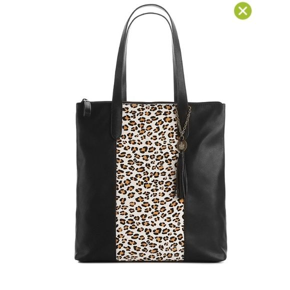 Like New Black Leather Bag With Leopard Panel Interior Pockets And Exterior Pocket On Back Crown Vintage Bags Totes