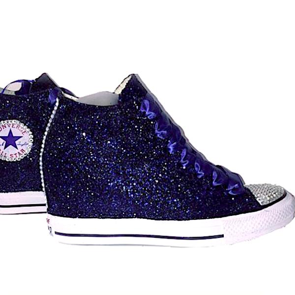 "Women's Sparkly Glitter Converse All Stars Lux 3"" Hidden"