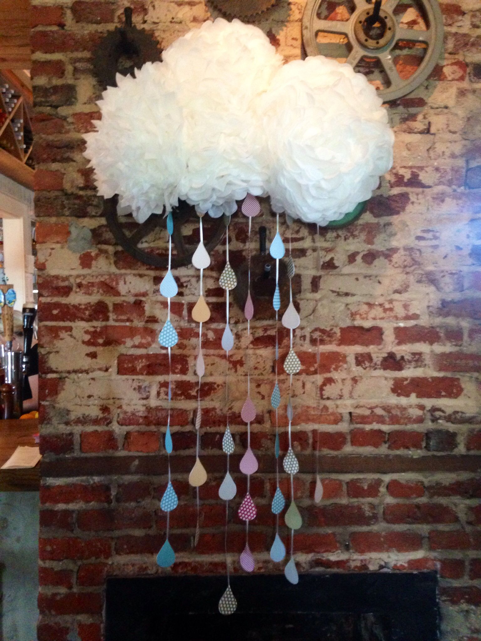 Scrapbook paper clouds - Paper Tissue Cloud With Scrapbook Paper Raindrops Attach Everything To A Large
