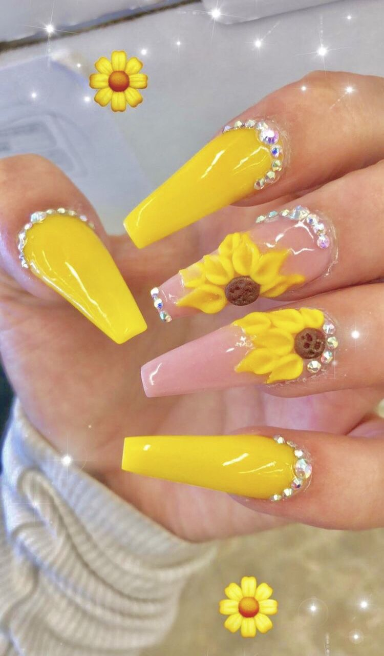 Truubeautys Coffin Nails Long Sunflower Nails Coffin Nails Designs