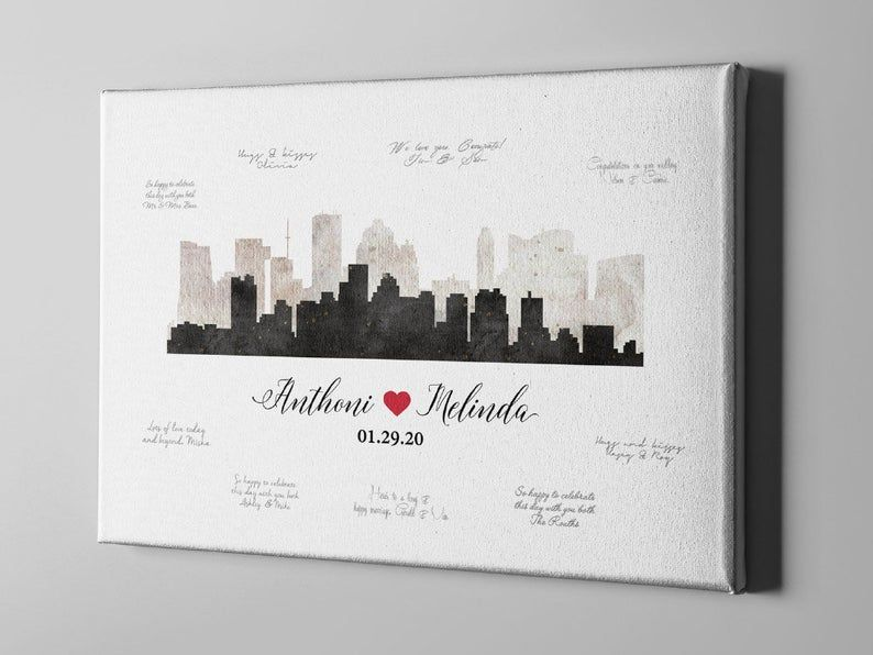 Houston city skyline guest book texas usa state canvas