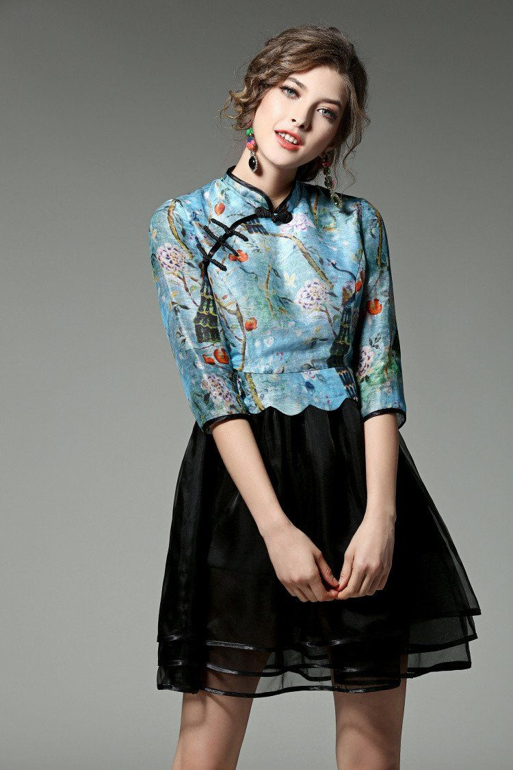 Bodka Runway designer womans dresses floral print, blue top, black ...