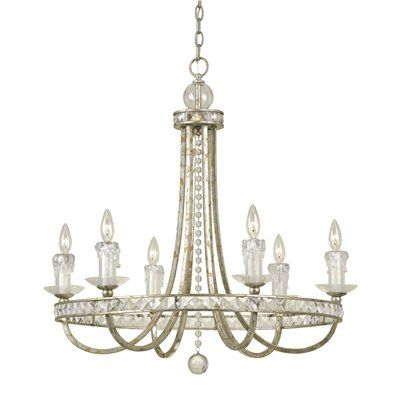 From the candice olson aristocrat collection soft gold finish candice olson aristocrat 6 x light chandelier soft gold with crystal prisms and faux glass candle drips aloadofball Gallery