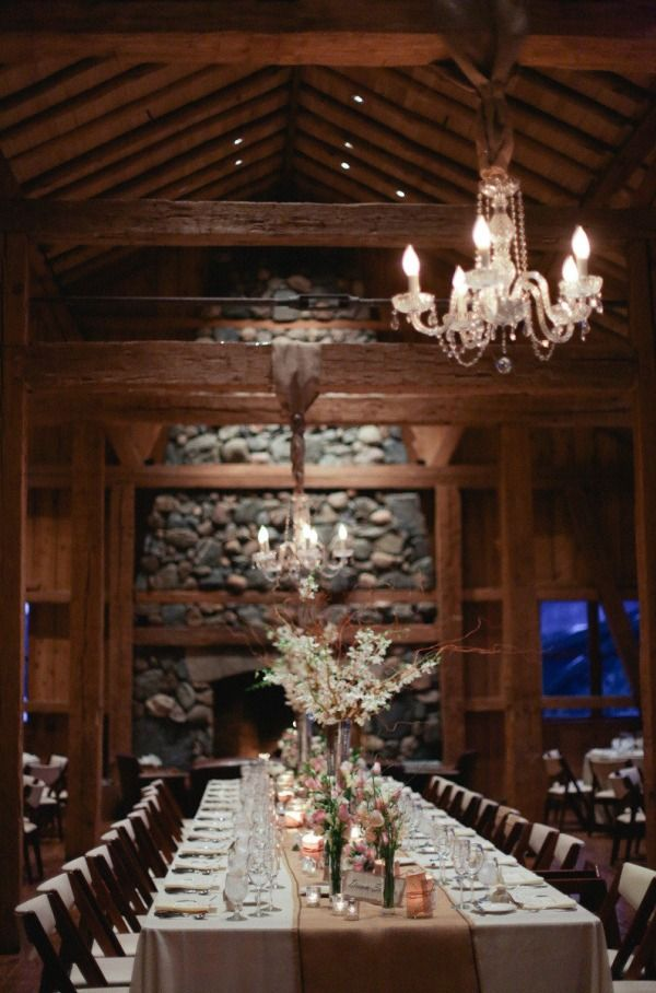 Big Day Decor: If you live in Colorado, try this intimate lodge feel for your reception. #rustic #lodging #stones