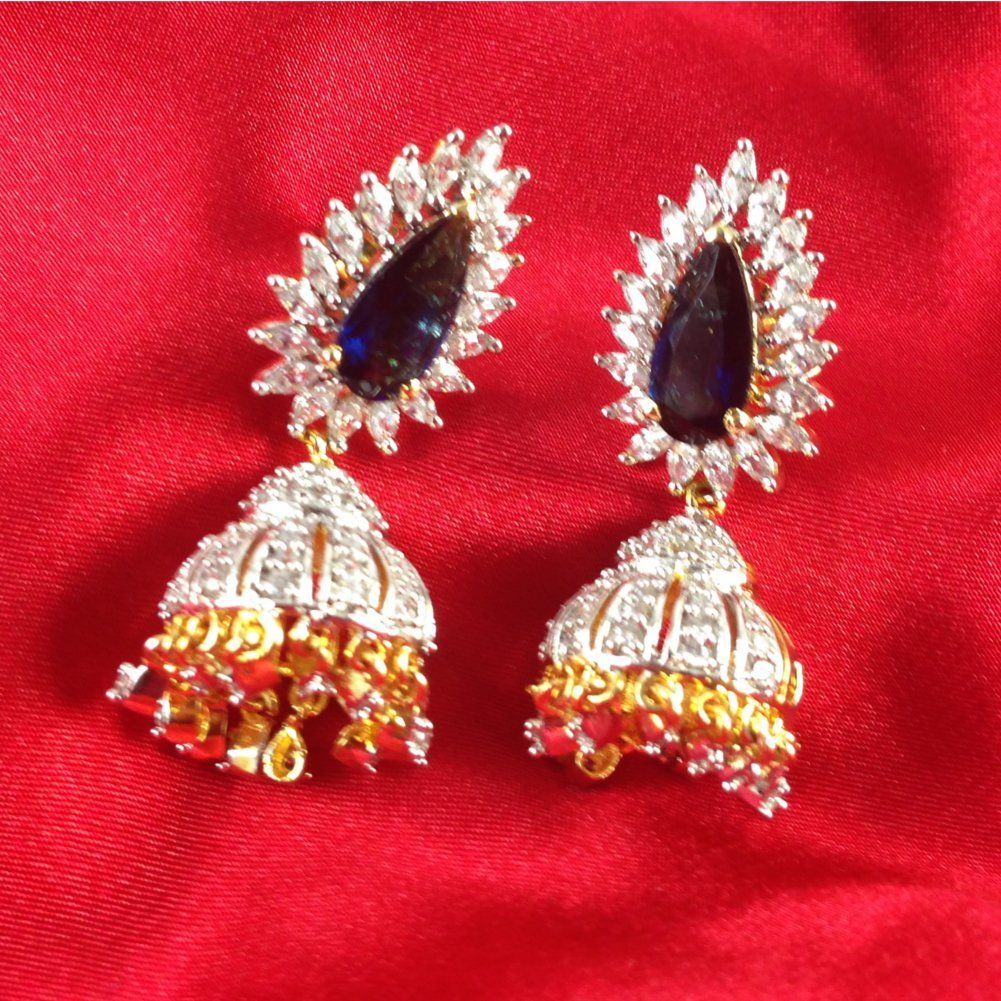 Nizam Fashion Jhumki Earring with Saphire and Cubic