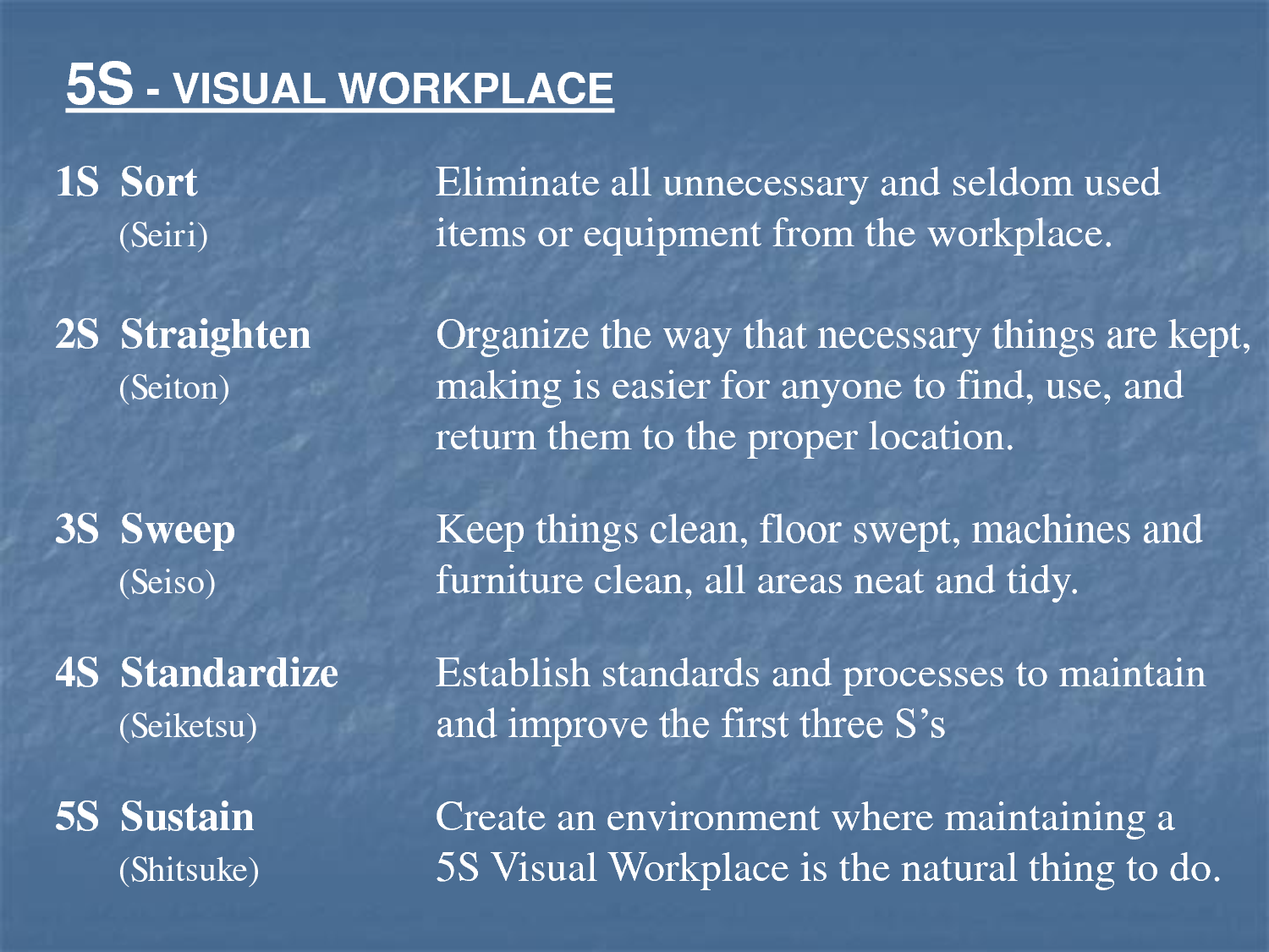 5S Poster 5S VISUAL WORKPLACE | Lean & 5S Workplace