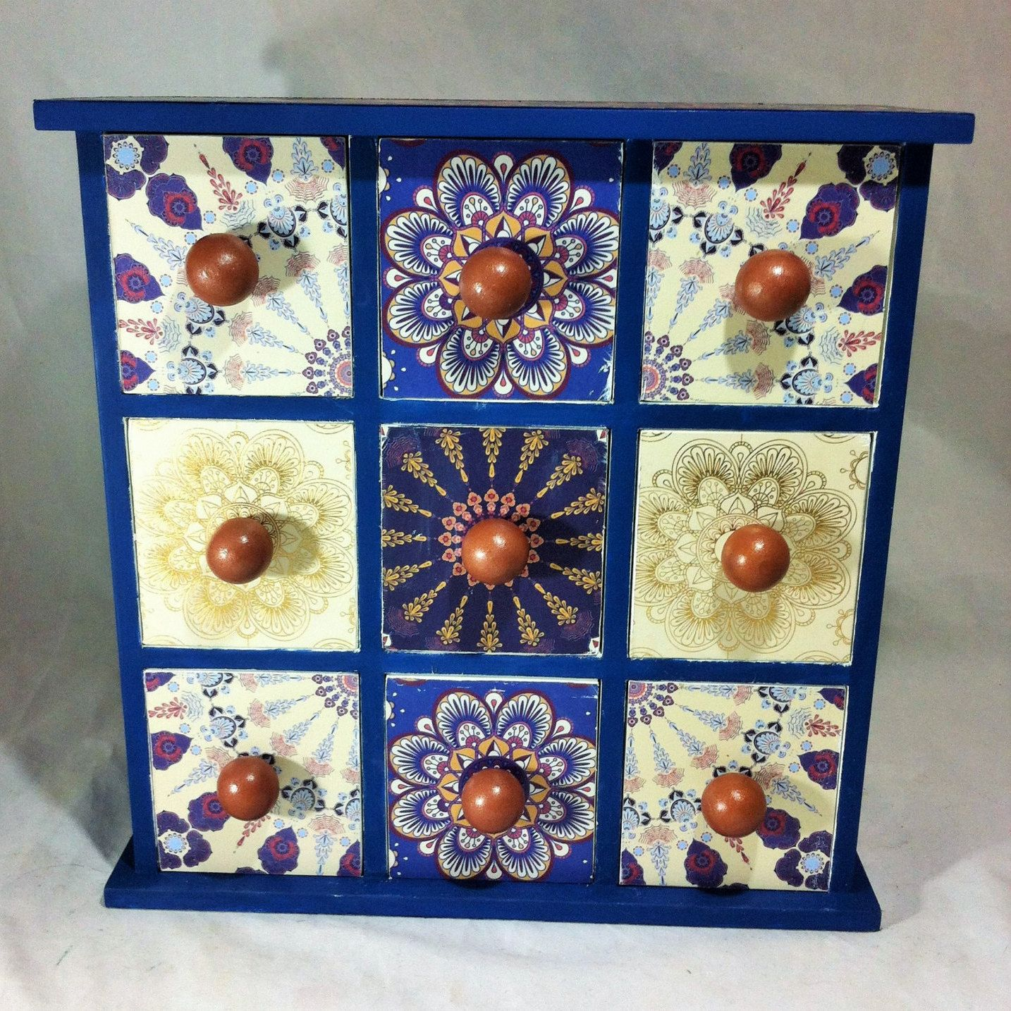 Large Moroccan Apothecary Cabinet, Navy Boho Jewelry Box, Spice Cabinet,  Tea Box,