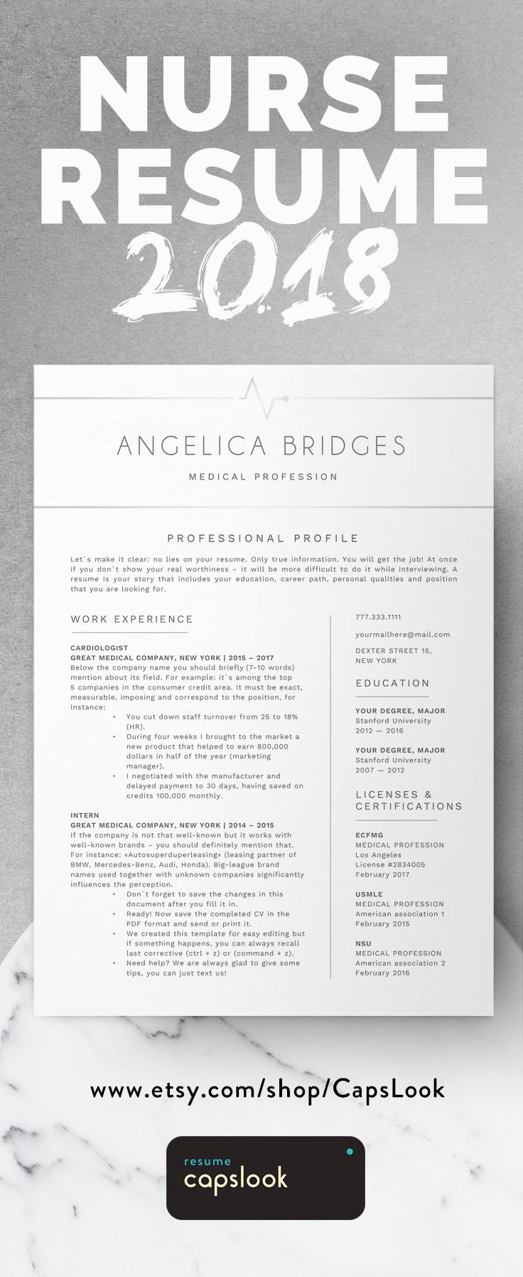 Registered nurse resume, nursing cv template for word