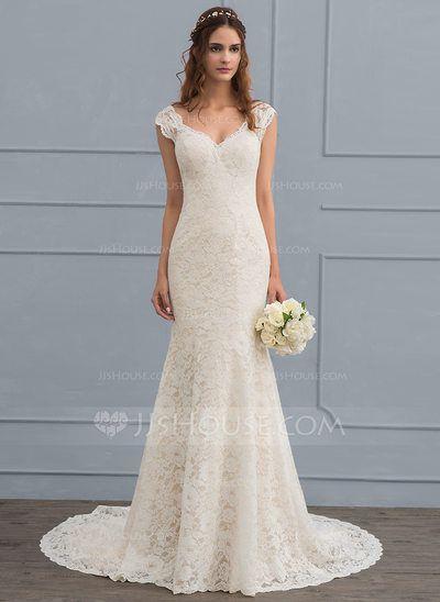 us$ 187.49] trumpet/mermaid v-neck court train lace wedding dress