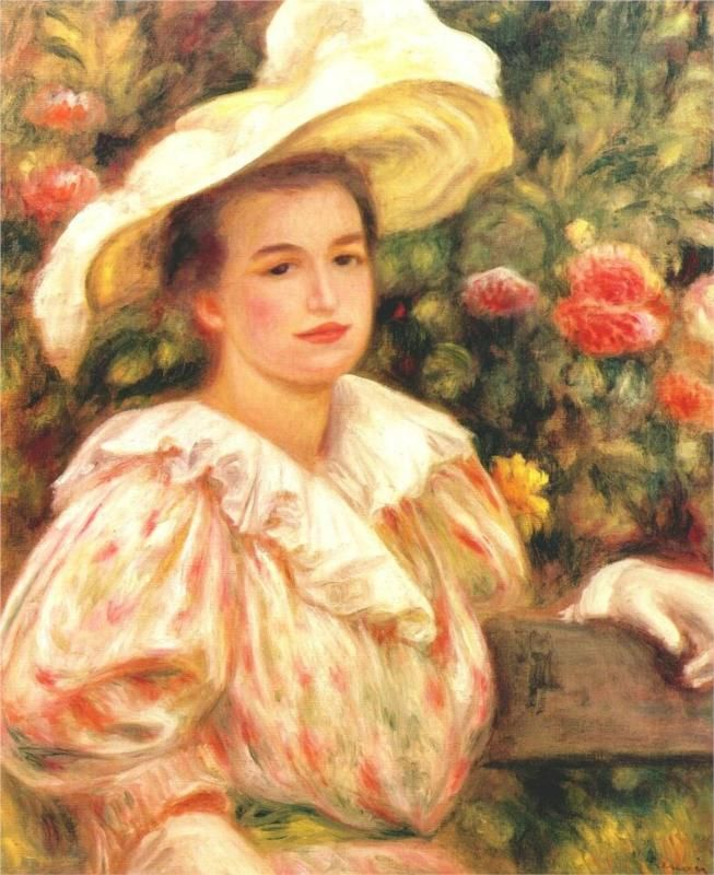 Pierre-Auguste Renoir (French 1841–1919) [Impressionism] Lady with white hat, 1895.