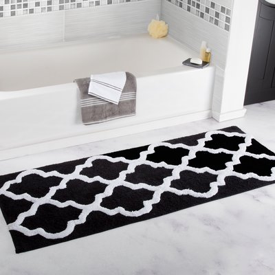 The Twillery Co Godmanchester Trellis Cotton Bath Rug Bath Mat