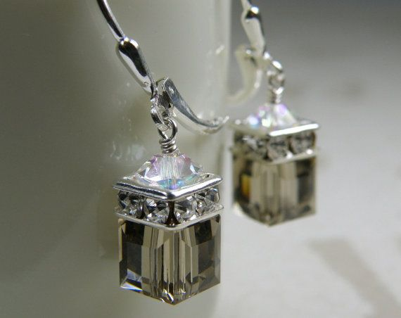 Smokey Quartz Earrings Gray Cube Crystal Drop Dangle by fineheart