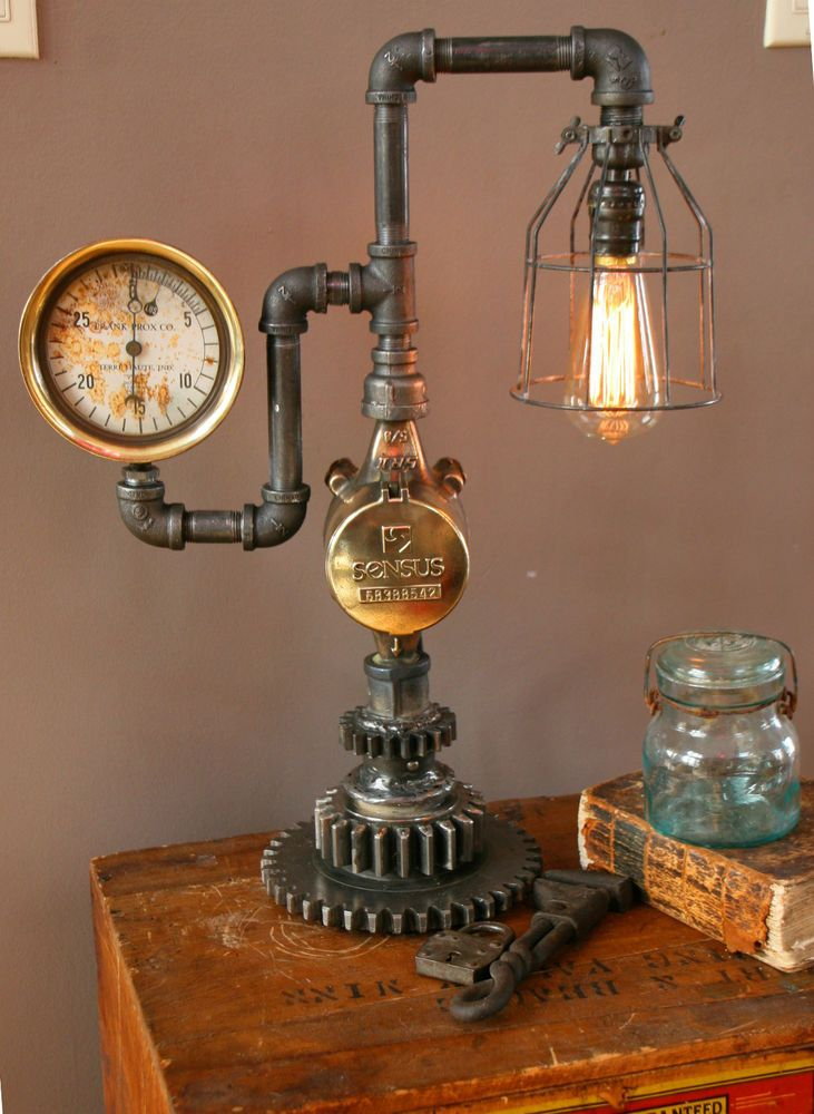steampunk brass steam gauge meter gear lamp light industrial art machine age gauges steampunk. Black Bedroom Furniture Sets. Home Design Ideas