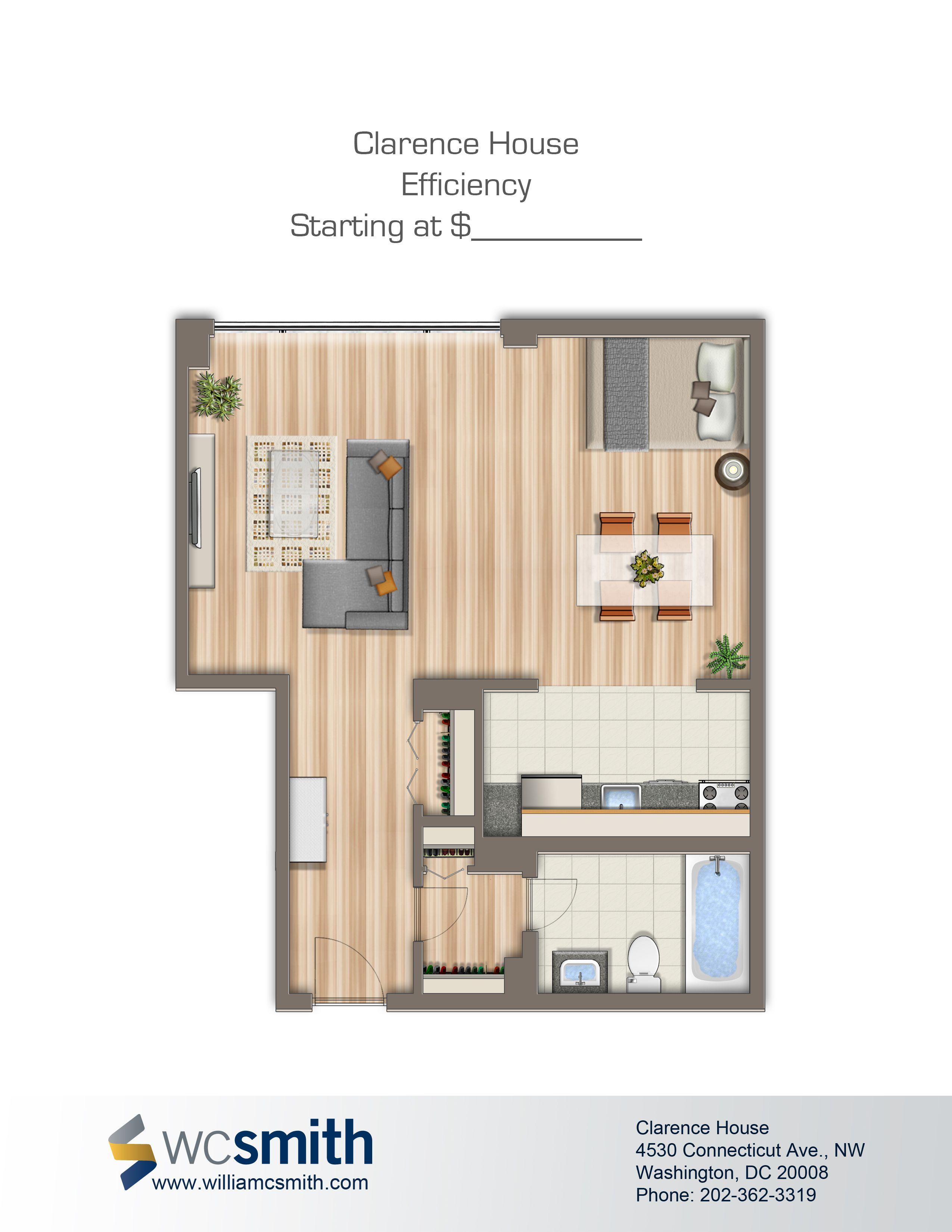 StudioEfficiency Floor Plan Clarence House in Northwest