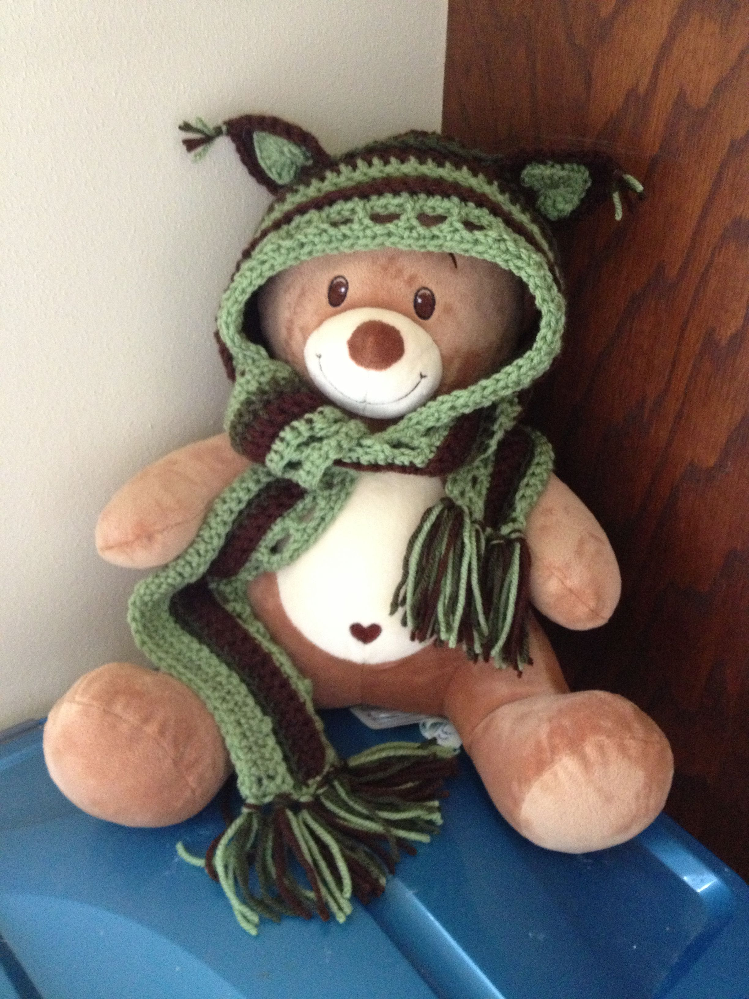 Crochet Pattern Hooded Scarf With Ears : Crochet hooded toddler scarf with ears Hollys Hooks ...