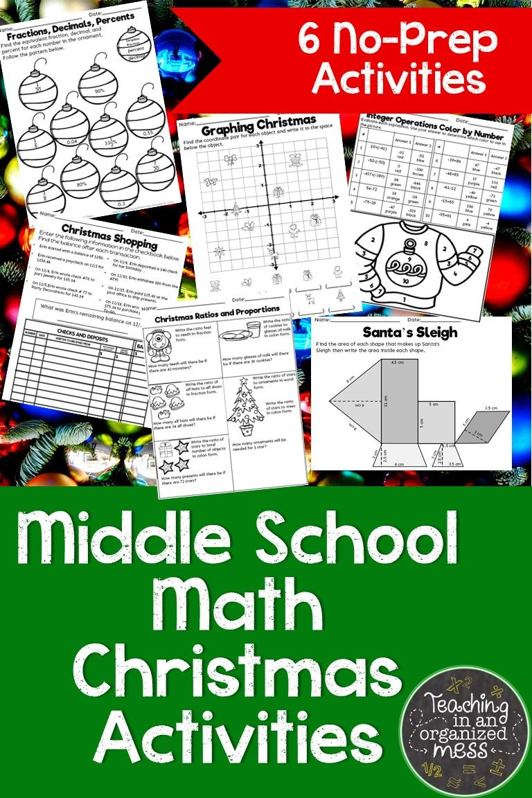 Christmas Math Activities for Middle School Math | Math | Pinterest ...
