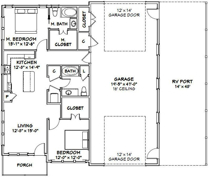 46x48 House 2Bedroom 2Bath 1,157 sq ft PDF
