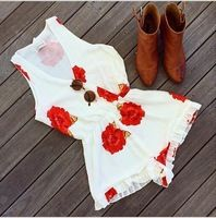 2015 summer dress Sleeveless Flower Printing V neckline Casual rompers party beach women dress