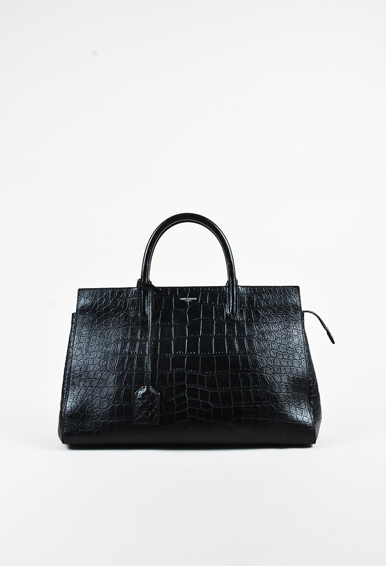 ad12f77b0 Yves Saint Laurent Black Embossed Croc Leather