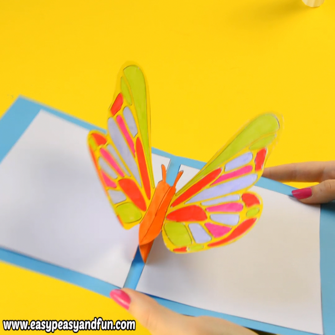 Diy Butterfly Pop Up Card With A Template Easy Peasy And Fun Diy Butterfly Butterfly Crafts Crafts