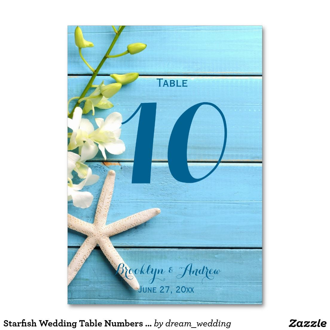 Starfish Wedding Table Numbers With Orchids Card