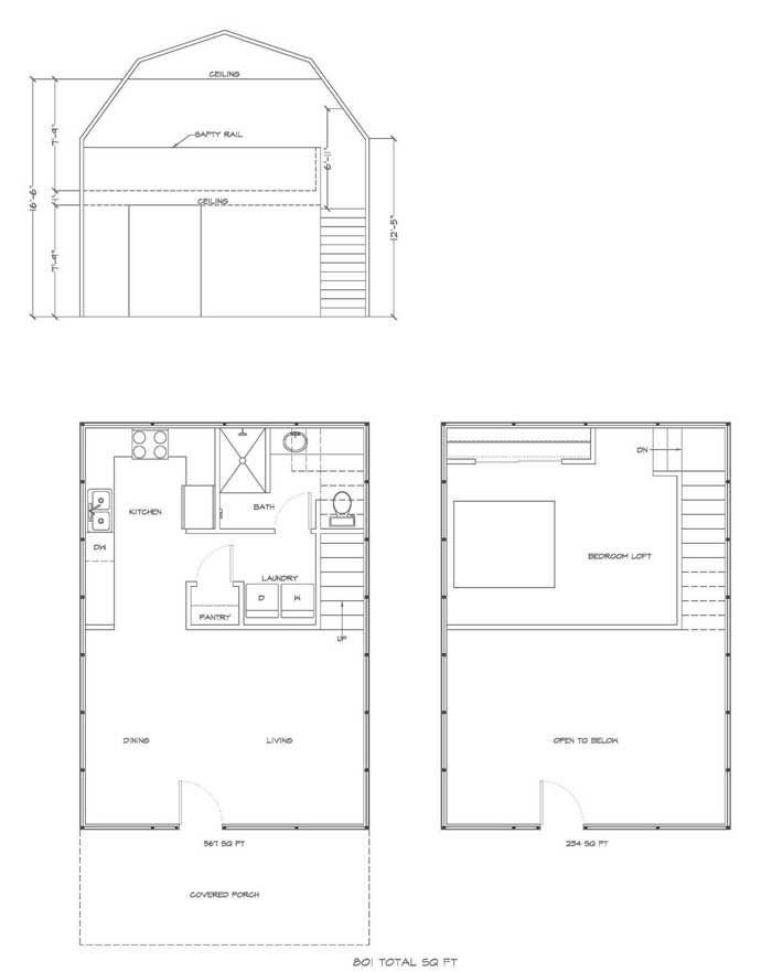 deluxe lofted barn cabin floor plan | gambrel house kit with