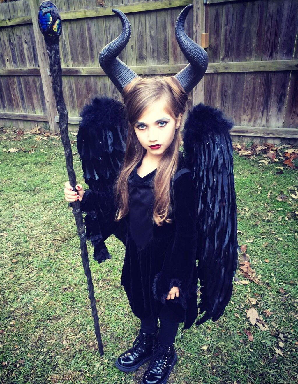 Diy piece by piece purchased horns, vampire dress, wings