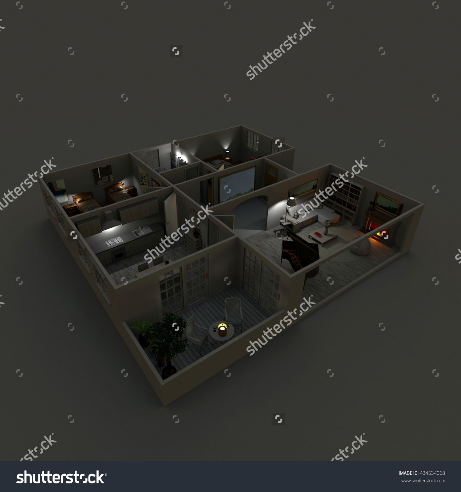 3d Interior Rendering Perspective View Of Furnished Home Apartment With Turned On Lights By Night Kitchen Living RoomsEntrance