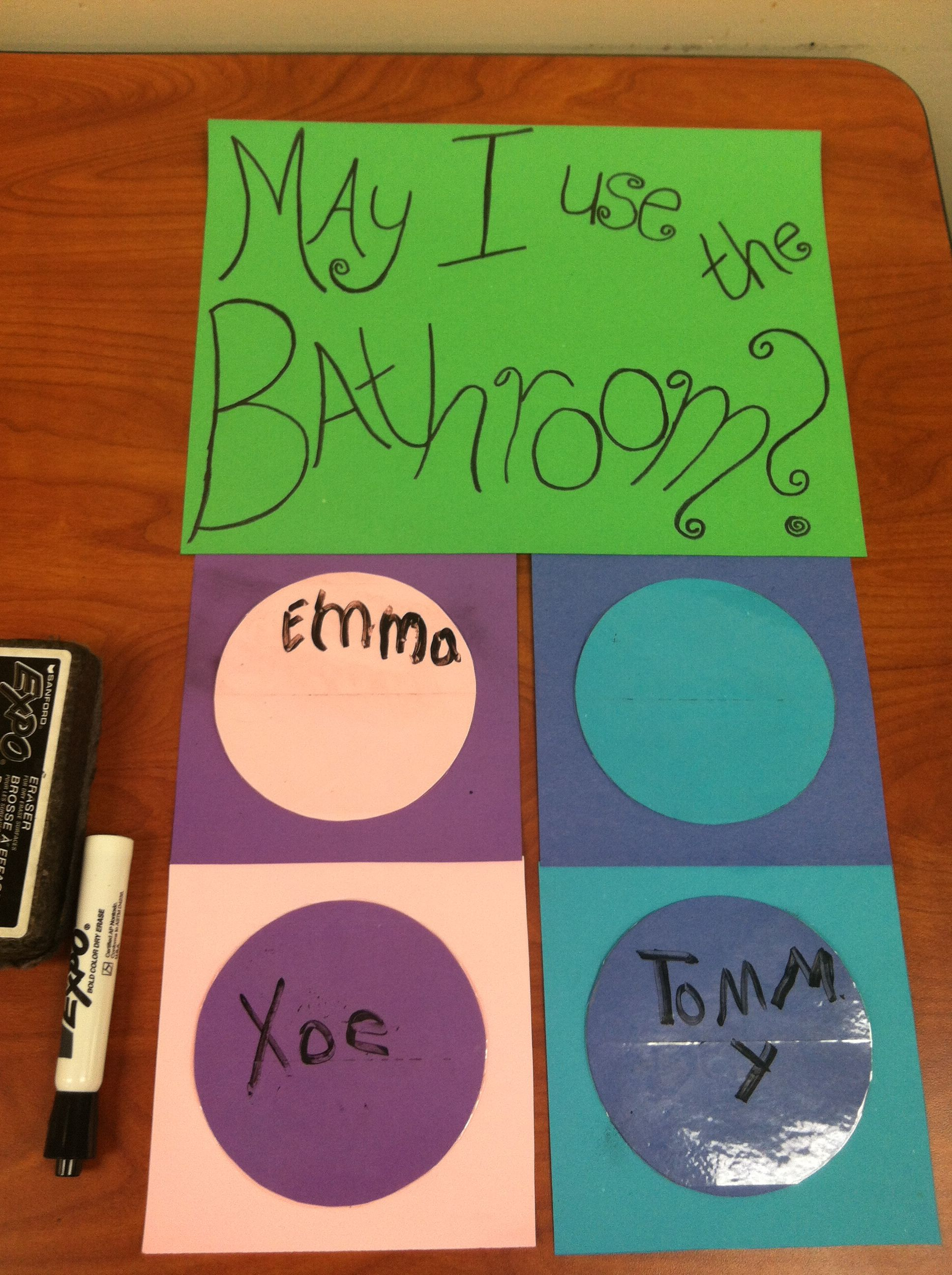 Bathroom sign out poster: student write their name with a dry erase marker to go to the bathroom, then erase it when they get back. Made it so much easier for me to keep track of WHO was in the bathroom while doing a head count in after school care.