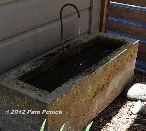 Concrete Trough With Copper Tube Spout. I Am Planning Concrete Trough But  Not With Permanent Water; Helps To See Width Of Edges Anyway.