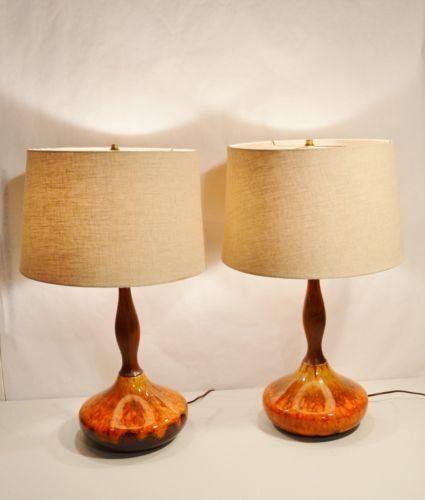 Vtg Mid Century Danish Modern Orange Brown Drip Glaze Pottery Table Lamp Ceramic Lamp Lamp Light Danish Modern