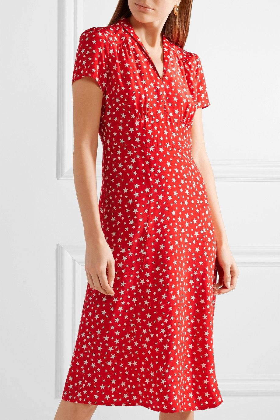 Morgan Printed Silk Crepe De Chine Dress - Red HVN 8g4bxT