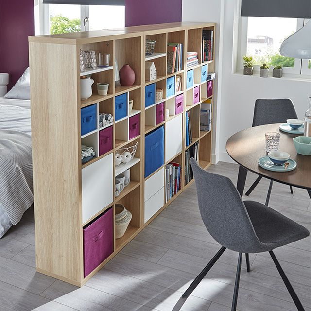 etagere modulable 8 cases coloris chene