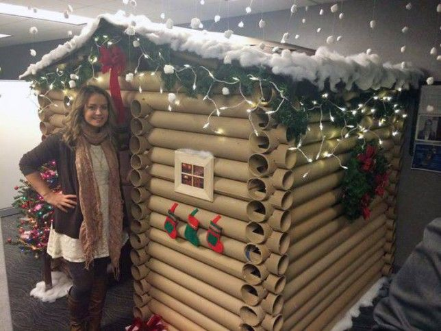 woman transforms cubicle into holiday themed log cabin.htm woman transforms work cubicle into cosy alpine log cabin  with  work cubicle into cosy alpine log cabin